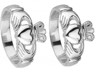 14K White Gold Silver Claddagh Wedding Ring Set