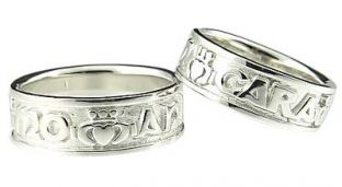 14K White Gold Silver My Soul Mate Claddagh Band Ring Set