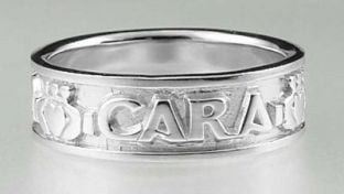 """Mens 14K White Gold Silver """"My Soul Mate"""" Celtic Claddagh Band Ring"""