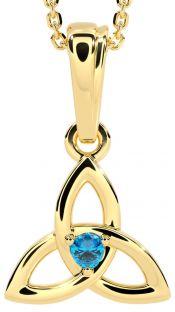 "Gold Topaz .06cts ""Celtic Knot"" Pendant Necklace - December Birthstone"