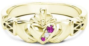 Gold Natural Pink Sapphire .035cts Natural Diamond .01cts Claddagh Celtic Knot Ring - October Birthstone