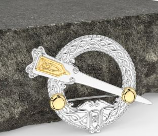 """14K Two Tone Gold Solid Silver Celtic """"Ardagh"""" Brooch"""