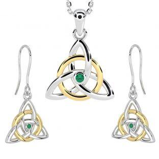"White & Yellow Gold Genuine Emerald Irish ""Celtic Knot"" Dangle Earrings & Necklace Set"
