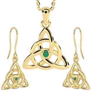 "14K Gold Silver Genuine Emerald Irish ""Celtic Knot"" Dangle Earrings & Necklace Set"