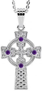 """White Gold Genuine Amethyst .12cts """"Celtic Cross"""" Pendant Necklace"""