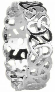 Mens 14K White Gold Silver Celtic Knot Band Ring