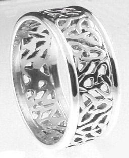 """Mens 10K/14K/18K White Gold """"Celtic Knot"""" Wedding Ring"""
