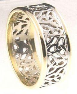 """Mens 10K/14K/18K White & Yellow Gold """"Celtic Knot"""" Wedding Band Ring"""