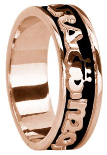 "Ladies Rose Gold & Black Rhodium  ""My Soul Mate"" Claddagh Wedding Band Ring"