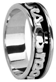 """Ladies 14K White Gold coated Silver """"My Soul Mate"""" Claddagh Celtic Band Ring"""