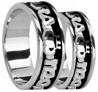 "14K White Gold coated Silver ""My Soul Mate"" Claddagh Band Ring Set"