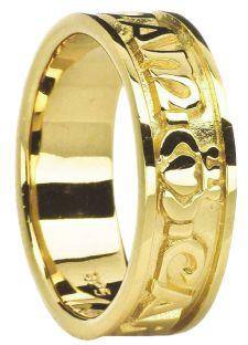 """Ladies14K Gold Silver """"My Soul Mate"""" Celtic Claddagh Band Ring"""