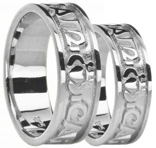 "10K/14K/18K White Gold ""My Soul Mate"" Wedding Band Rings Set"