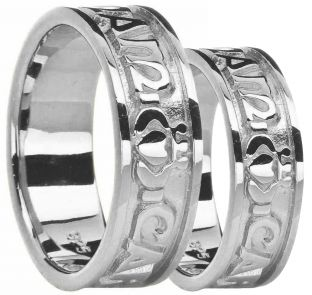 "14K White Gold Silver "" My Soul Mate"" Celtic Claddagh Ring Set"