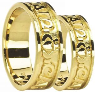 "14K Yellow Gold "" My Soul Mate"" Celtic Claddagh Ring Set"