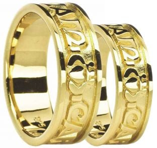 "10K/14K/18K Yellow Gold ""My Soul Mate"" Claddagh Wedding Band Rings Set"