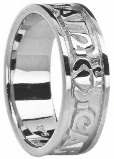 """Ladies14K White Gold """"My Soul Mate"""" Celtic Claddagh Ring"""