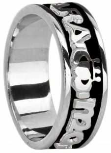 "Mens 14K White Gold coated Silver ""My Soul Mate ""Claddagh Celtic Band Ring"