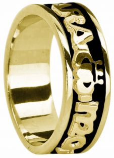 """Mens 14K Gold Gold coated Silver """"My Soul Mate """"Claddagh Celtic Band Ring"""