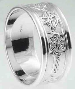 Mens10K/14K/18K White Gold Celtic Cross Wedding Ring