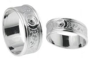 "10K/14K/18K White Gold Celtic ""Warrior"" Wedding Ring Set"