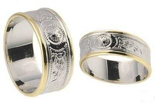 "10K/14K/18K White Gold Celtic ""Warrior"" Wedding Band Ring Set"