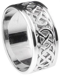 """Mens 10K/14K/18K White Gold Celtic """"Eternity Knot"""" Wedding Ring"""