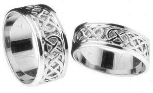 """10K/14K/18K White Gold Celtic """"Eternity Knot"""" Wedding Ring Set"""