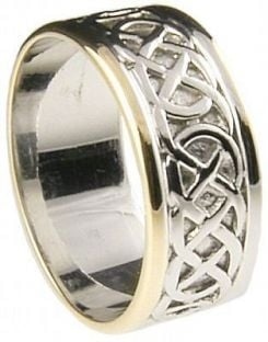 """Mens 10K/14K/18K White & Yellow Gold Celtic """"Eternity Knot"""" Wedding Band Ring"""