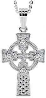 14K White Gold Diamond .12cts Celtic Cross Pendant Necklace