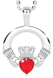 White Gold Ruby .18cts Irish Claddagh Pendant Necklace - July Birthstone