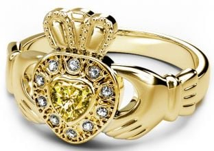 10K/14K/18K Gold Genuine Diamond .13cts Genuine Yellow Sapphire .25cts Claddagh Engagement Ring