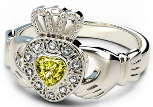 10K/14K/18K White Gold Genuine Diamond .13cts Genuine Yellow Sapphire .25cts Claddagh Engagement Ring