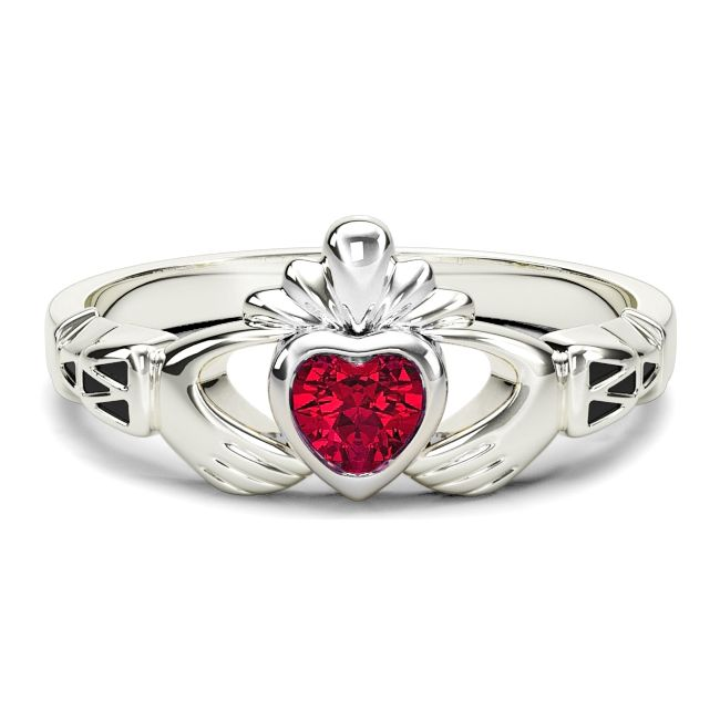 Ladies Garnet Silver Claddagh Celtic Knot Ring - January Birthstone