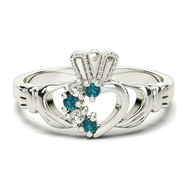 Ladies Toapaz Diamond Silver Claddagh Ring - March Birthstone