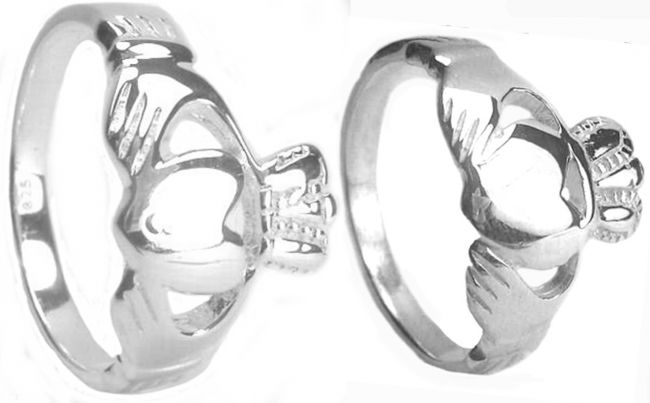 Silver Claddagh Ring Set