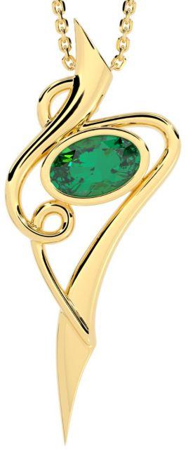 14K Gold Solid Silver Emerald Celtic Pendant Necklace