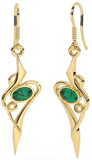 Emerald 14K Yellow Gold Silver Celtic Dangle Earrings