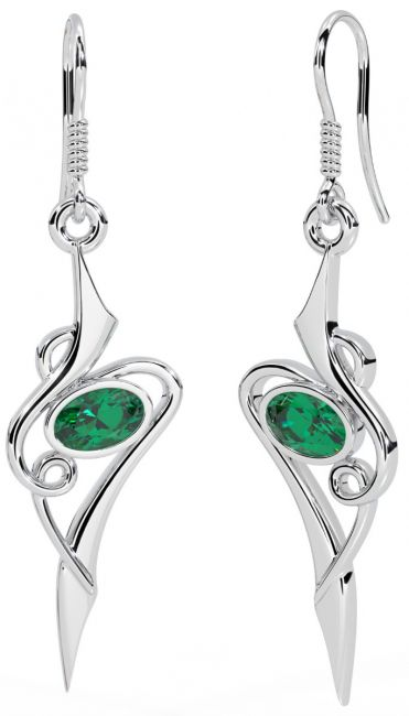 Emerald 14K White Gold Solid Silver Celtic Dangle Earrings