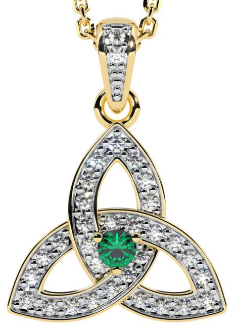 White & Yellow Gold Genuine Diamond .15cts Genuine Emerald .10cts