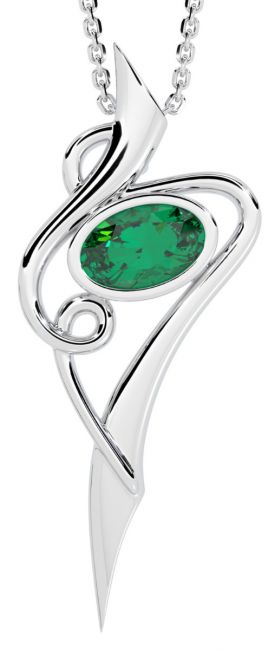 Emerald Silver Celtic Pendant Necklace