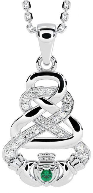 White Gold Genuine Diamond .015cts Genuine Emerald .02cts Irish Claddagh Celtic Pendant Necklace