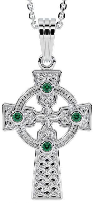 14K White Gold Solid Silver Emerald Irish