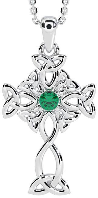 White Gold Genuine Emerald .03cts Irish