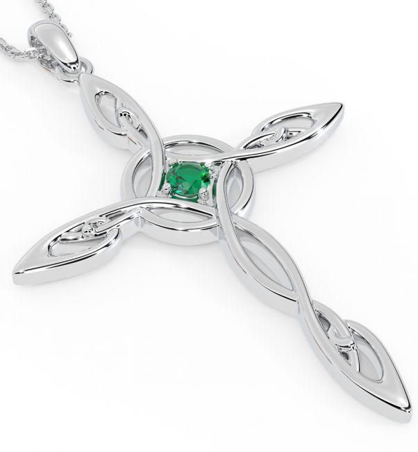 Emerald Silver Celtic Cross Pendant Necklace