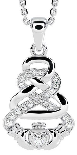 White Gold Genuine Diamond .03cts Irish Claddagh Celtic Pendant Necklace