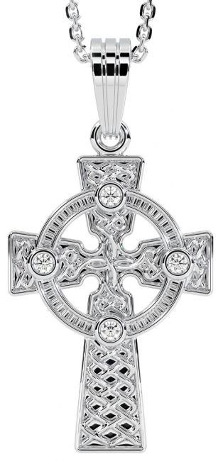 14K White Gold Diamond-cut Celtic Cross Pendant