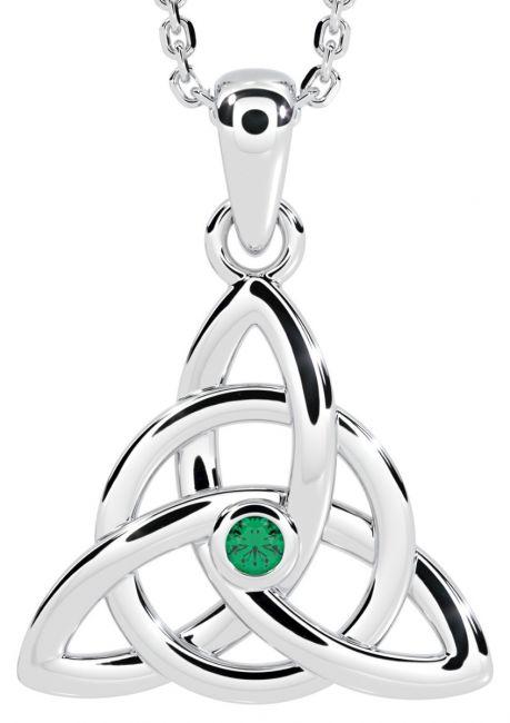 14K White Gold Solid Silver Genuine Emerald .03ct Irish