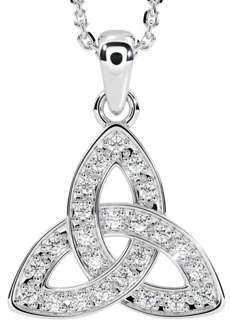 Silver Diamond Celtic Knot Pendant Necklace