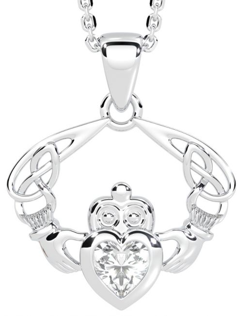 Silver Celtic Claddagh Pendant Necklace